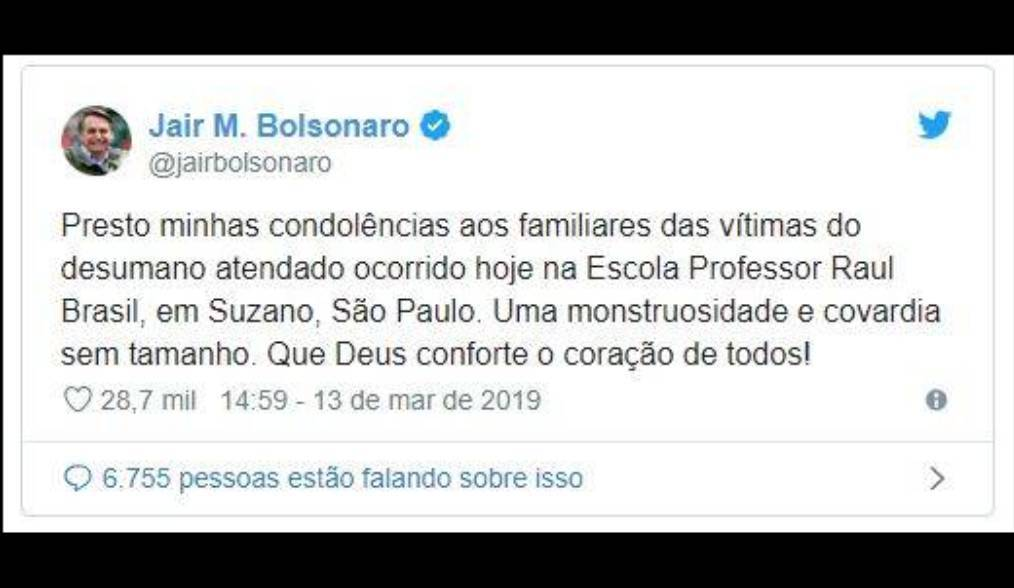 nota do presidente massacre escola de suzano